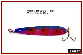 "Akuna Treasure Troller 3"" Trolling Spoon Fishing Lure in color Purple Rain [JM 15-29]"