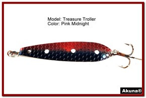 "Akuna Treasure Troller 3"" Trolling Spoon Fishing Lure in color Pink Midnight [JM 15-31]"