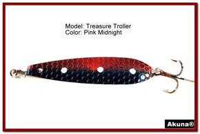 """Akuna Treasure Troller 3"""" Trolling Spoon Fishing Lure in color Pink Midnight [JM 15-31]"""