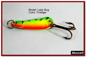 "Akuna Lady Bug 1.2"" Spoon Fishing Lure in color Firetiger [JM 39-21]"