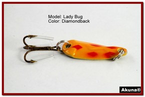 "Akuna Lady Bug 1.2"" Spoon Fishing Lure in color Diamondback [JM 39-22]"