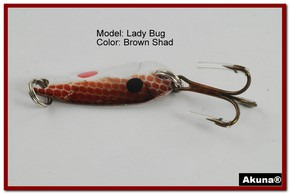 "Akuna Lady Bug 1.2"" Spoon Fishing Lure in color Brown Shad [JM 39-25]"