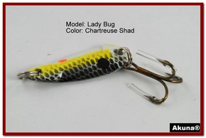 "Akuna Lady Bug 1.2"" Spoon Fishing Lure in color Chartreuse Shad [JM 39-27]"