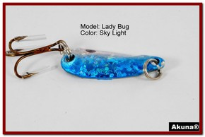 "Akuna Lady Bug 1.2"" Spoon Fishing Lure in color Sky Light [JM 39-83]"
