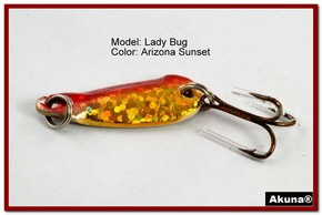 "Akuna Lady Bug 1.2"" Spoon Fishing Lure in color AZ Sunset [JM 39-84]"
