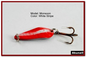 "Akuna Monsoon 1.3"" Spoon Fishing Lure in color White Strip [JM 42-20]"