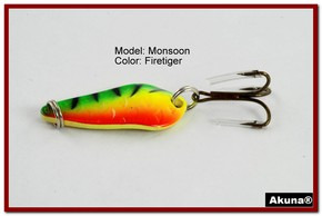 "Akuna Monsoon 1.3"" Spoon Fishing Lure in color Firetiger [JM 42-21]"