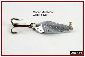 "Akuna Monsoon 1.3"" Spoon Fishing Lure in color Silver [JM 42-24]"