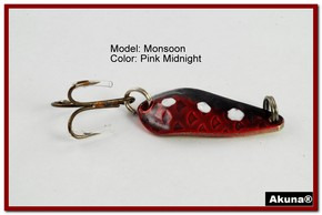 "Akuna Monsoon 1.3"" Spoon Fishing Lure in color Pink Midnight [JM 42-31]"