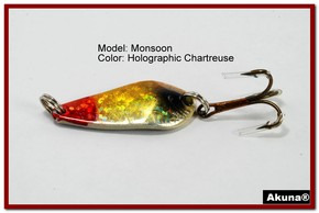 "Akuna Monsoon 1.3"" Spoon Fishing Lure in color Holographic Chartreuse [JM 42-34]"