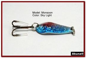 "Akuna Monsoon 1.3"" Spoon Fishing Lure in color Sky Light [JM 42-83]"