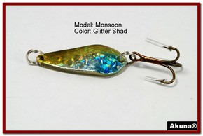 "Akuna Monsoon 1.3"" Spoon Fishing Lure in color Glitter Shad [JM 42-85]"