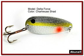 "Akuna Delta Force 2.75"" Spoon Fishing Lure in color Chartreuse Shad [JM 68-27]"