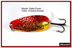 "Akuna Delta Force 2.75"" Spoon Fishing Lure in color AZ Sunset [JM 68-84]"