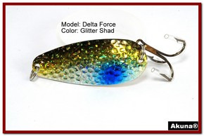 "Akuna Delta Force 2.75"" Spoon Fishing Lure in color Glitter Shad [JM 68-85]"