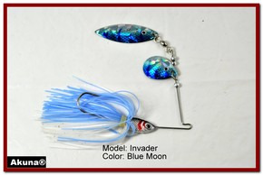 Akuna Invader 1/2 oz Spinnerbait Lure Holographic Colorado Blade Blue Moon Skirt skirt