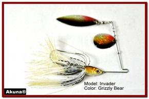 Akuna Invader 1/2 oz Spinnerbait Lure Holographic Red Colorado Blade Grizzly Bear skirt