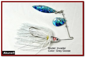 Akuna Invader 1/2 oz Spinnerbait Holographic Blue Colorado Blade Grey Goose Skirt skirt