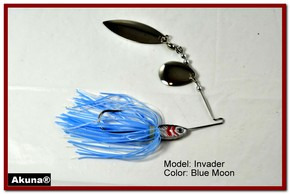 Akuna Invader 1/2 oz Spinnerbait Lure Silver Colorado Blade Blue Moon Skirt skirt