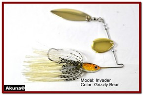Akuna Invader 1/2 oz Spinnerbait Lure Gold Colorado Blade Grizzly Bear Skirt skirt