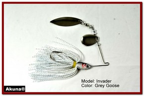 Akuna Invader 1/2 oz Spinnerbait Lure Silver Colorado Blade Grey Goose Skirt skirt