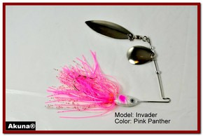 Akuna Invader 1/2 oz Spinnerbait Lure Silver Colorado Blade Pink Panther Skirt skirt