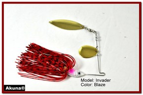 Akuna Invader 1/2 oz Spinnerbait Lure Gold Colorado Blade AZ Sunset Skirt skirt