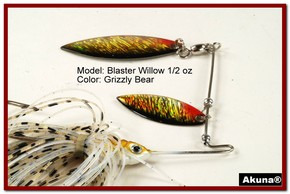 Akuna Blaster Willow 1/2 oz Spinnerbait Lure Holographic Red Colorado Blade Grizzly Bear skirt