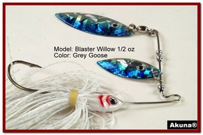 Akuna Blaster Willow 1/2 oz Spinnerbait Holographic Blue Colorado Blade Grey Goose Skirt skirt