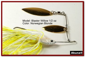 Akuna Blaster Willow 1/2 oz Spinnerbait Lure Gold Colorado Blade Norwegian Blonde Skirt skirt