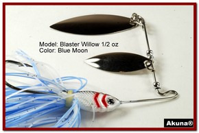 Akuna Blaster Willow 1/2 oz Spinnerbait Lure Silver Colorado Blade Blue Moon Skirt skirt