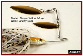 Akuna Blaster Willow 1/2 oz Spinnerbait Lure Gold Colorado Blade Grizzly Bear Skirt skirt