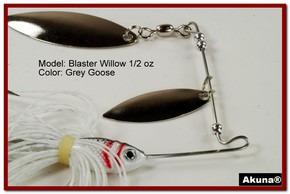 Akuna Blaster Willow 1/2 oz Spinnerbait Lure Silver Colorado Blade Grey Goose Skirt skirt