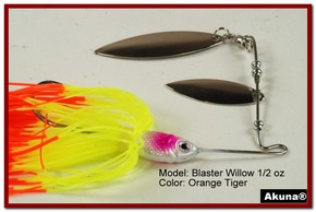 Akuna Blaster Willow 1/2 oz Spinnerbait Lure Silver Colorado Blade Orange Tiger Skirt skirt