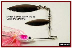 Akuna Blaster Willow 1/2 oz Spinnerbait Lure Silver Colorado Blade Pink Panther Skirt skirt