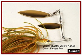 Akuna Blaster Willow 1/2 oz Spinnerbait Lure Gold Colorado Blade Desert Fox Skirt skirt