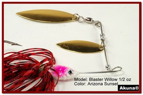 Akuna Blaster Willow 1/2 oz Spinnerbait Lure Gold Colorado Blade AZ Sunset Skirt skirt