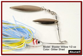 Akuna Blaster Willow 1/2 oz Spinnerbait Lure Silver Colorado Blade Glitter Shad Skirt skirt