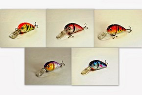 "Akuna Pack of 5 Wart Hog 3.4"" Diving Jointed Fishing Lure - Clearance"