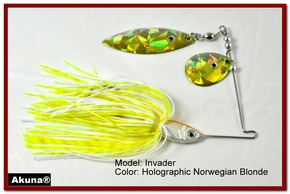 Akuna Invader 3/8 oz Spinnerbait Holographic Gold Colorado Blade Norwegian Blonde skirt