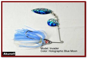 Akuna Invader 3/8 oz Spinnerbait Lure Holographic Colorado Blade Blue Moon Skirt skirt