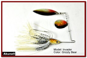 Akuna Invader 3/8 oz Spinnerbait Lure Holographic Red Colorado Blade Grizzly Bear skirt