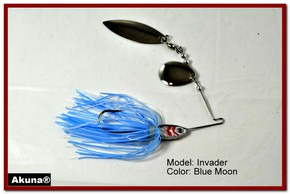 Akuna Invader 3/8 oz Spinnerbait Lure Silver Colorado Blade Blue Moon Skirt skirt