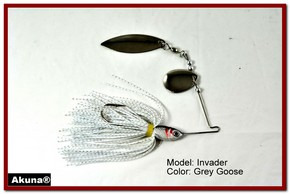Akuna Invader 3/8 oz Spinnerbait Lure Silver Colorado Blade Grey Goose Skirt skirt