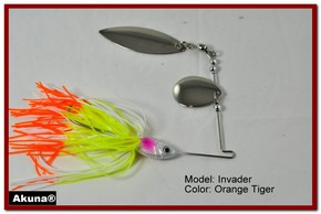 Akuna Invader 3/8 oz Spinnerbait Lure Silver Colorado Blade Orange Tiger Skirt skirt