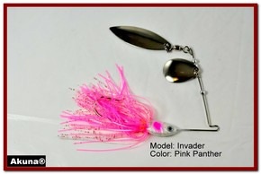 Akuna Invader 3/8 oz Spinnerbait Lure Silver Colorado Blade Pink Panther Skirt skirt