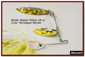 Akuna Blaster Willow 3/8 oz Spinnerbait Holographic Gold Colorado Blade Norwegian Blonde skirt