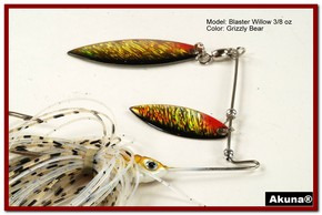 Akuna Blaster Willow 3/8 oz Spinnerbait Lure Holographic Red Colorado Blade Grizzly Bear skirt