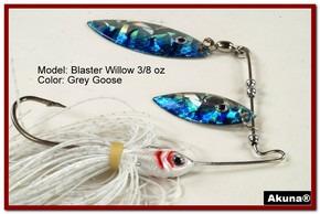Akuna Blaster Willow 3/8 oz Spinnerbait Holographic Blue Colorado Blade Grey Goose Skirt skirt