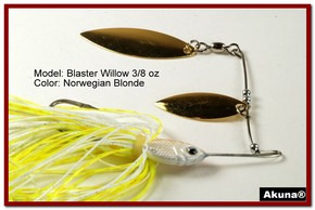 Akuna Blaster Willow 3/8 oz Spinnerbait Lure Gold Colorado Blade Norwegian Blonde Skirt skirt